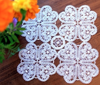 FSL Battenberg Square Dance Doily Set