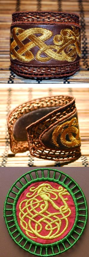 FSL Applique Celtic Bracelet and Pendant Set