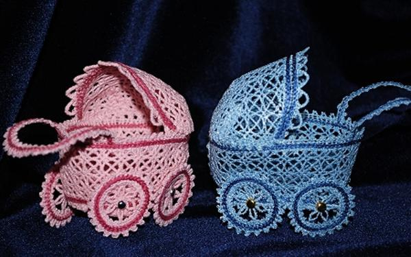Advanced Embroidery Designs - 3D FSL Battenberg Baby Stroller