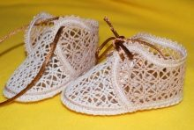 FSL Battenberg Lace Christening Booties Set