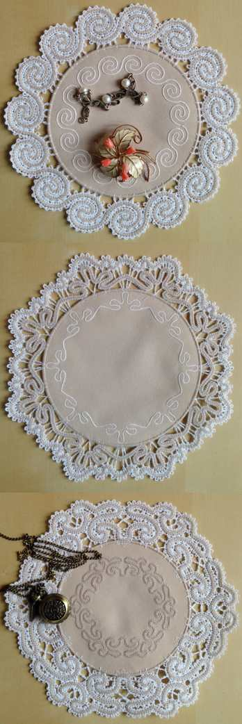 FSL Battenberg Applique Lace Doily Set