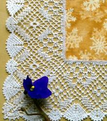 Freestanding Bobbin Lace Square Doily with Fabric Insert