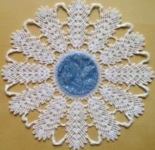 Freestanding Bobbin Lace Feather Doily with Fabric Insert