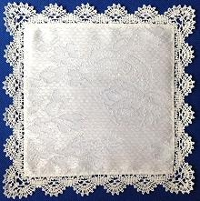 Square Doily or Handkerchief with Freestanding Bobbin Lace Edge