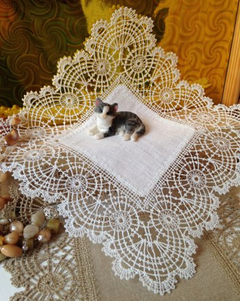 Freestanding Bobbin Lace Doily with Fabric Center
