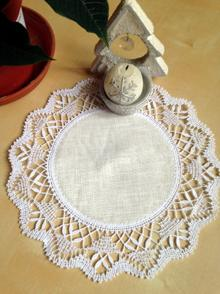Freestanding Bobbin Lace Round Doily with Fabric Center