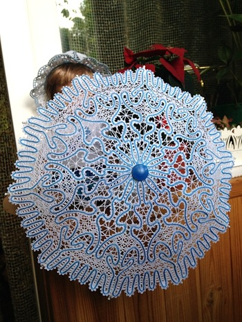 Freestanding Battenberg Lace Parasol for 18-inch Dolls