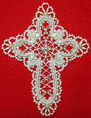 Freestanding Battenberg Lace Cross