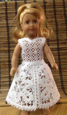 Freestanding Battenberg Flower Lace Dress for a Mini American Girl Doll