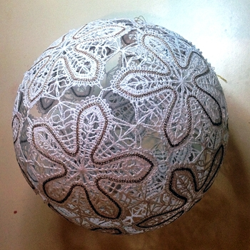 Freestanding Battenberg Lace Christmas Ball