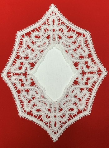 Freestanding Battenberg Lace Doily with Fabric Center