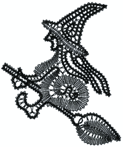 Freestanding Battenberg Lace Witch Ornament