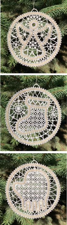Freestanding Battenberg Lace Christmas Ornament Set