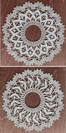 Freestanding Bobbin Lace Round Doily Set of 2 Freestanding Lace Machine Embroidery Designs