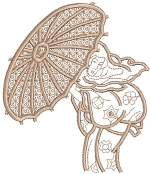Geisha with Parasol Applique