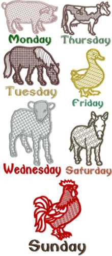 Farm Animals Days of the Week Applique Set