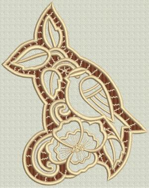 Advanced Embroidery Designs Bird In Apple Tree Cutwork Lace
