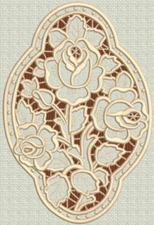 Three Roses Medallion Cutwork Lace
