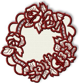 Cutwork Lace Rose Wreath Doily