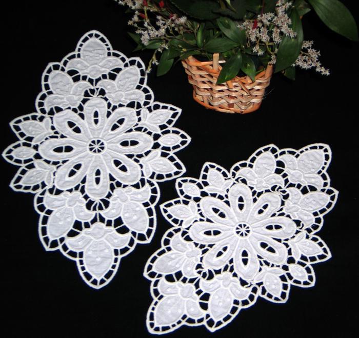 Advanced Embroidery Designs Fleur De Lis Cutwork Doily
