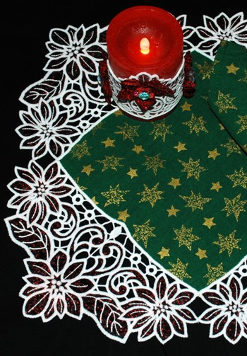 Cutwork Applique Poinsettia Border Lace