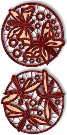 Cutwork Lace Dancing Butterfly and Dragonfly Circles