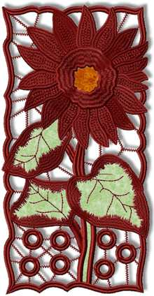 Cutwork Lace Applique Sunflower Panel