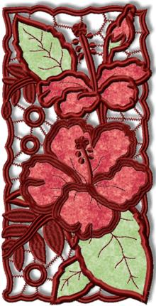 Cutwork Lace Applique Hibiscus Panel