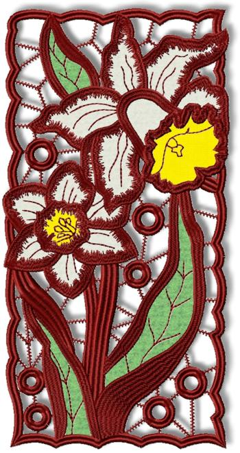 Cutwork Lace Applique Daffodil Panel