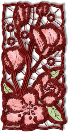 Cutwork Lace Applique Apple Blossom Panel