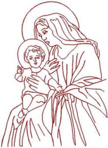 Madonna and Child Redwork