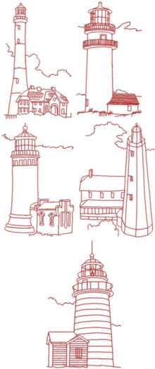 Lighthouse Redwork Set