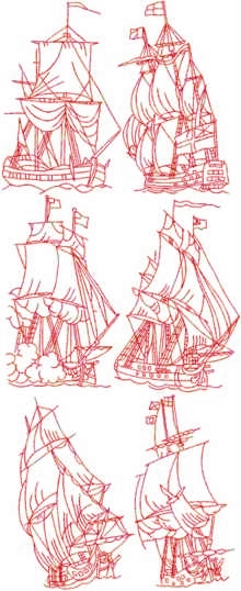 Sailing Ships Redwork Set