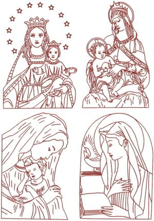 Advanced Embroidery Designs Madonna And Child Redwork Set
