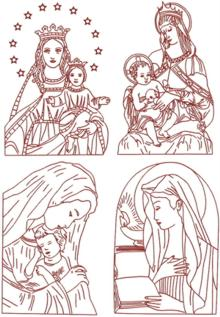 Madonna and Child Redwork Set