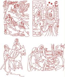 Nativity Redwork Set
