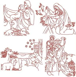 Nativity Redwork Set II