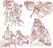 Nativity Redwork Set III