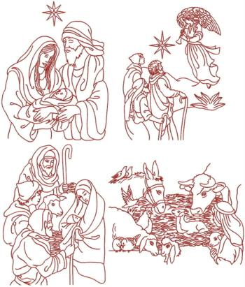 Nativity Redwork Set IV