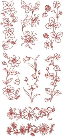 Redwork Flower Borders II