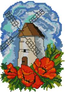 Dutch Windmill with Poppies