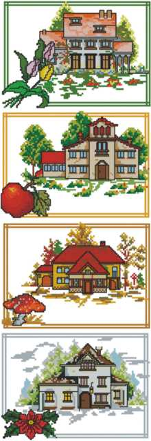 Seasons of the year landscapes, designs for machine embroidery