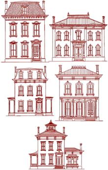 Victorian House Redwork Set