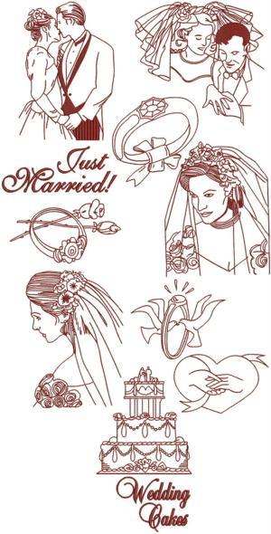 Wedding Redwork Set