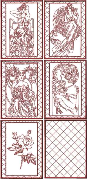 Lady with Flowers Redwork Quilt Blocks by Mucha