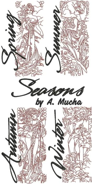 Seasons by Alphonse Mucha Redwork Set