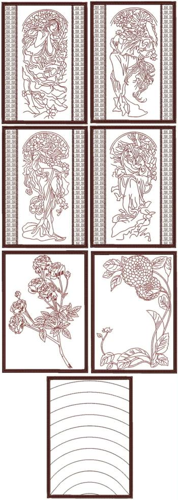 Seasons by Alphonse Mucha Redwork Quilt Blocks