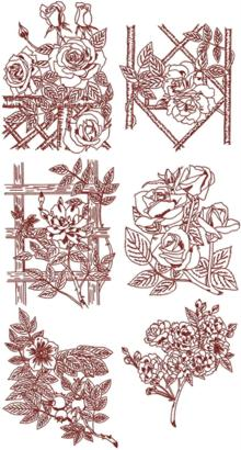 Rose Garden Redwork Set