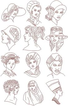 Headdresses of the World Redwork Set