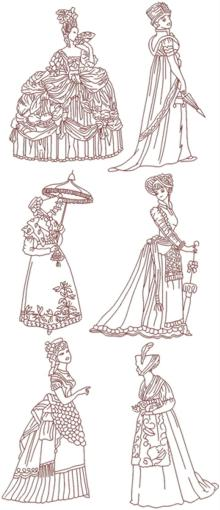 Fashionable Ladies of the Past Redwork Set I